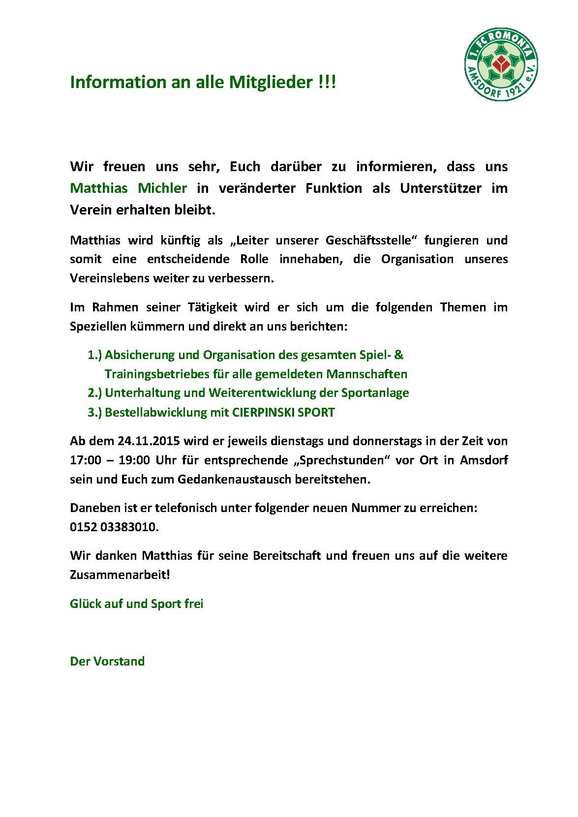 Information an alle Mitglieder in Sachen M Michler