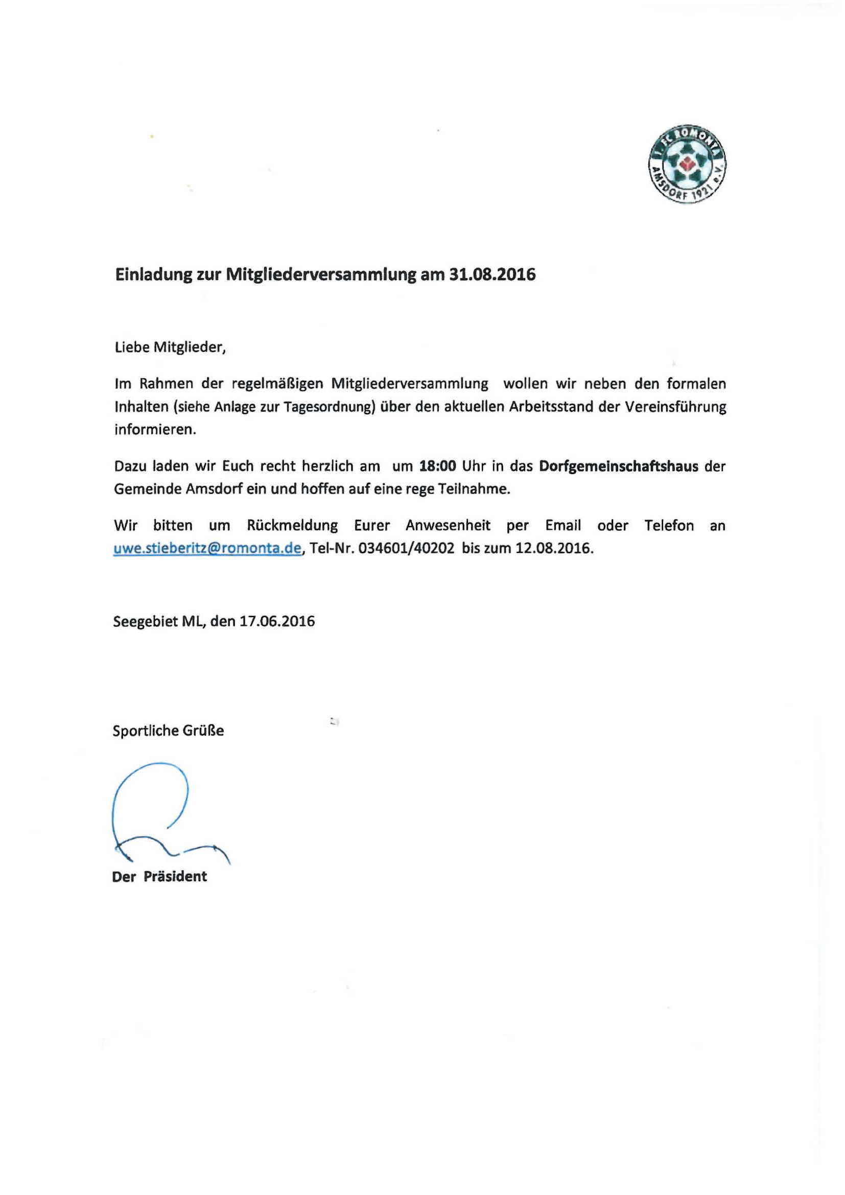 einladung zur mitgliederversammlung 2016 | 1.fc romonta amsdorf, Einladung